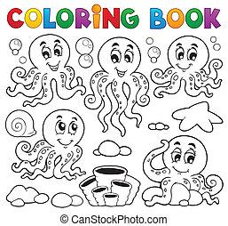 1, tema, coloração, polvo, livro