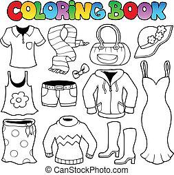 1, tema, coloring bog, klæder