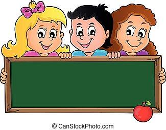 1, tema, crianças, segurando, schoolboard