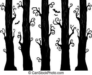 1, tema, dia das bruxas, floresta, imagem