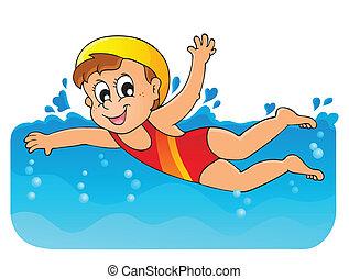 1, tema, imagem, natação