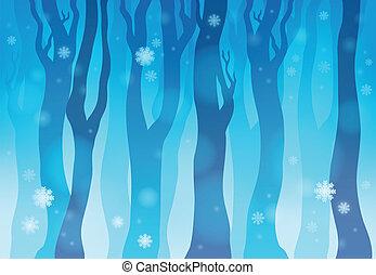 1, tema, inverno, imagem, floresta