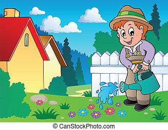 1, tema, jardim, imagem