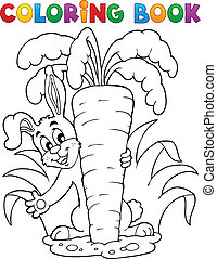 1, tema, libro colorante, coniglio