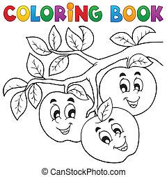 1, tema, libro colorante, frutta