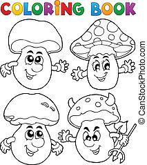 1, tema, libro colorante, fungo