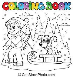 1, tema, libro colorante, inverno