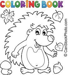 1, tema, libro colorante, riccio