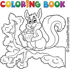 1, tema, libro colorante, scoiattolo