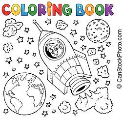 1, tema, libro colorante, spazio