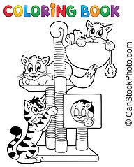 1, tema, libro colorear, gato