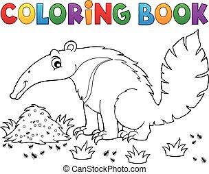 1, tema, libro colorear, oso hormiguero