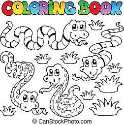 1, tema, libro colorear, serpientes