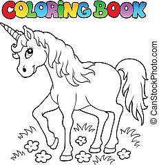 1, tema, libro colorear, unicornio