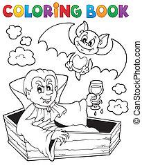 1, tema, libro colorear, vampiro