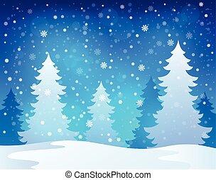1, tema, paesaggio inverno
