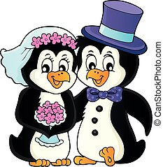 1, tema, pinguino, immagine, matrimonio
