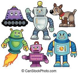 1, tema, robot, colección