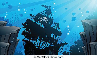 1, tema, skeppsbrott, avbild