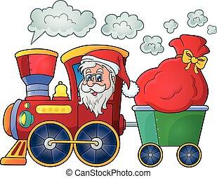 1, tema, tåg, jul, avbild