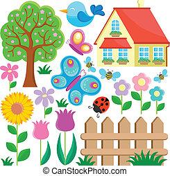 1, tema, trädgård, kollektion