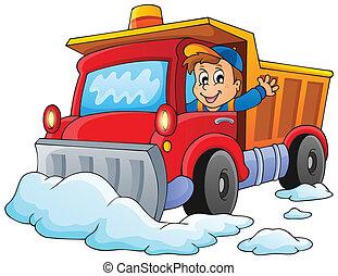 1, temat, śnieg, wizerunek, pług