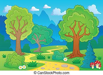1, temat, drzewo krajobraz