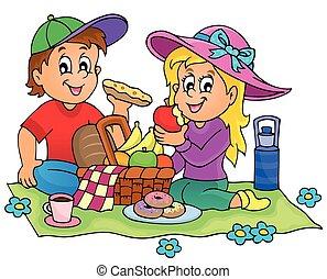 1, temat, piknik, wizerunek