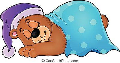 1, temat, wizerunek, niedźwiedź, spanie