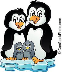 1, temat, wizerunek, rodzina, pingwin