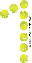 1, tennis, numero, palla