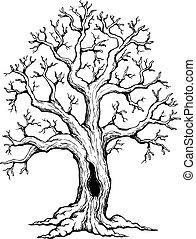 1, thème, arbre, dessin