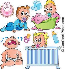 1, thème, bébés, collection