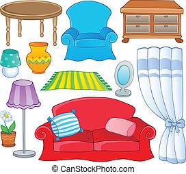 1, thème, collection, meubles