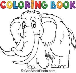 1, thème, coloration, mammouth, livre