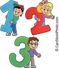 1, thème, enfants, nombres