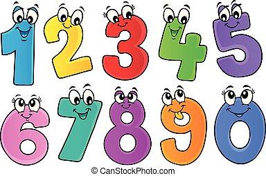 1, thème, ensemble, dessin animé, nombres