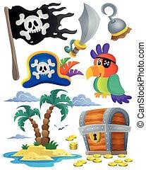 1, thème, ensemble, pirate