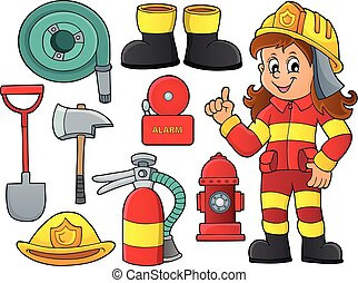 1, thème, ensemble, pompier