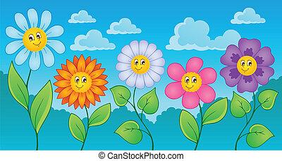 1, thème, fleurs, dessin animé