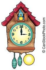 1, thème, image, horloge
