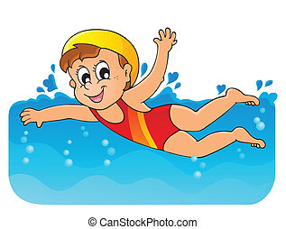 1, thème, image, natation