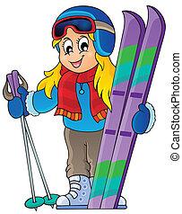 1, thème, image, ski