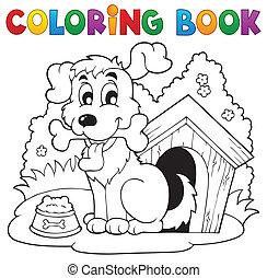 1, thème, livre coloration, chien