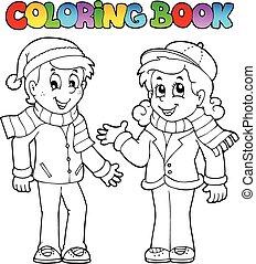 1, thème, livre coloration, gosses