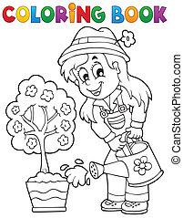 1, thème, livre coloration, jardinier