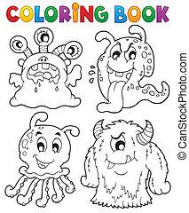 1, thème, livre coloration, monstre