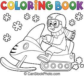 1, thème, livre coloration, motoneige