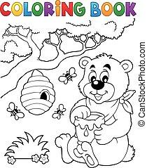 1, thème, livre coloration, ours