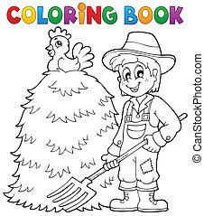 1, thème, livre coloration, paysan